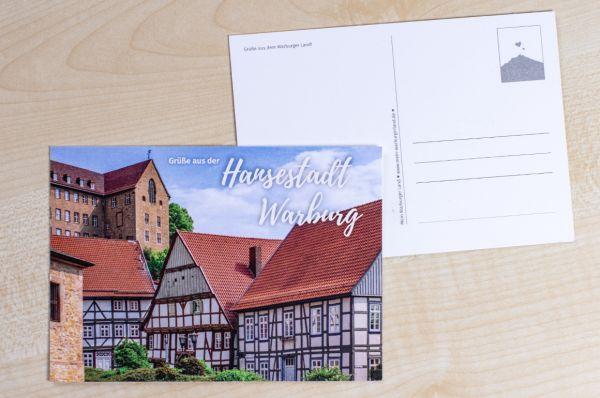 """Postkarte mit Warburger Motiv Marianum mit Text """"Grüße aus der Hansestadt Warburg"""""""