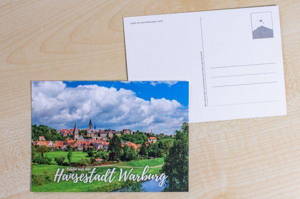 """Postkarte der Warburger Südansicht """"Grüße aus der Hansestadt Warburg"""""""