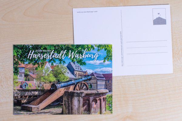 """Postkarte mit Warburger Motiv Fügeler Kanone mit Text """"Grüße aus der Hansestadt Warburg""""-"""
