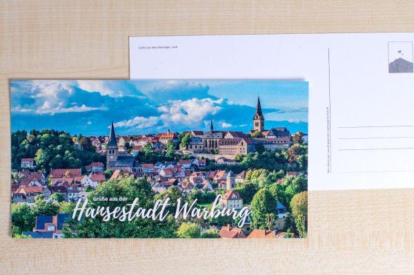 """Maxi-Postkarte mit der Warburger Südansicht """"Grüße aus der Hansestadt Warburg"""""""