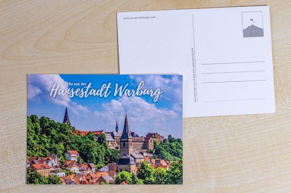 """Postkarte mit Ausschnitt der Warburger Südansicht """"Grüße aus der Hansestadt Warburg"""""""
